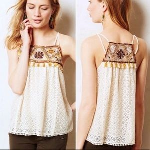 Anthropologie Beaded lace tank top
